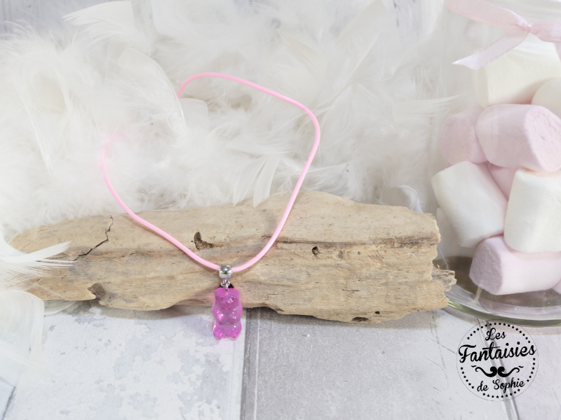 collier ours rose