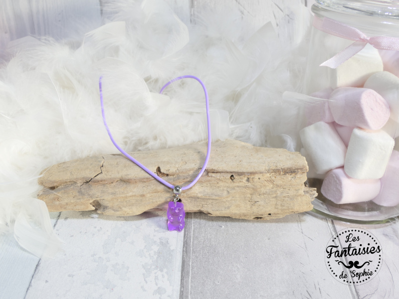 collier ours violet