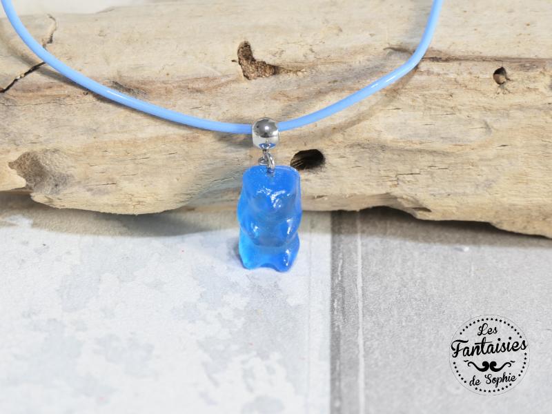 collier bonbon ours bleu