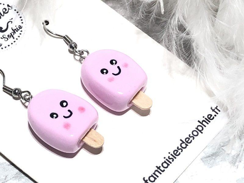 boucles d'oreilles glace rose
