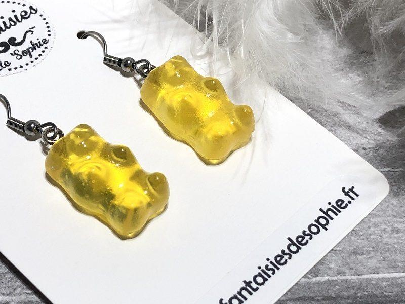 boucle d'oreilles bonbon nounours jaune