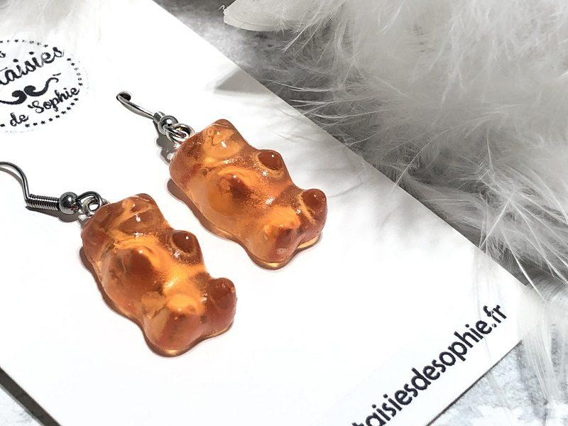 boucle d'oreilles bonbon nounours orange