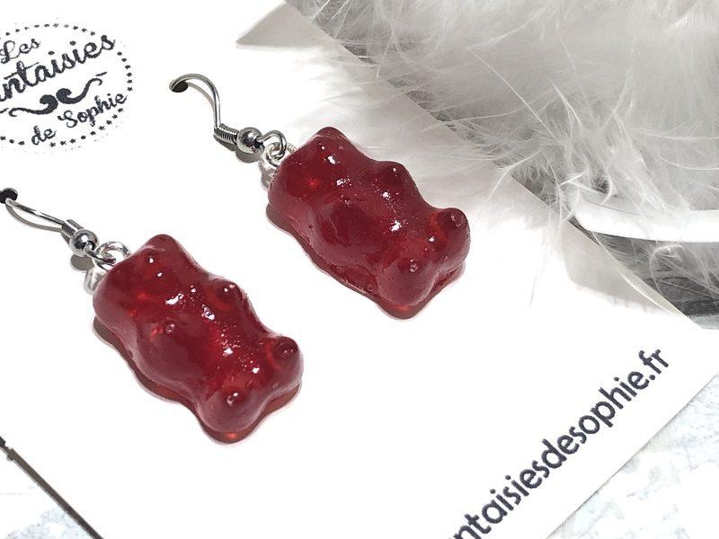 boucle d'oreilles bonbon nounours rouge
