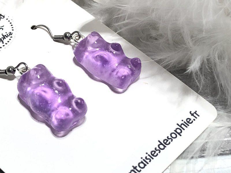 boucle d'oreilles bonbon nounours violet