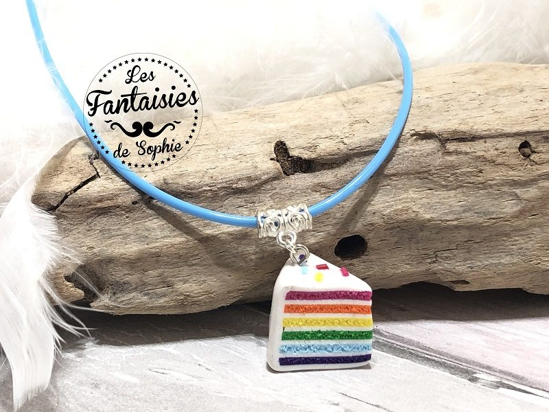 collier arc en ciel fimo