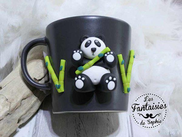 mug panda fimo gris clair