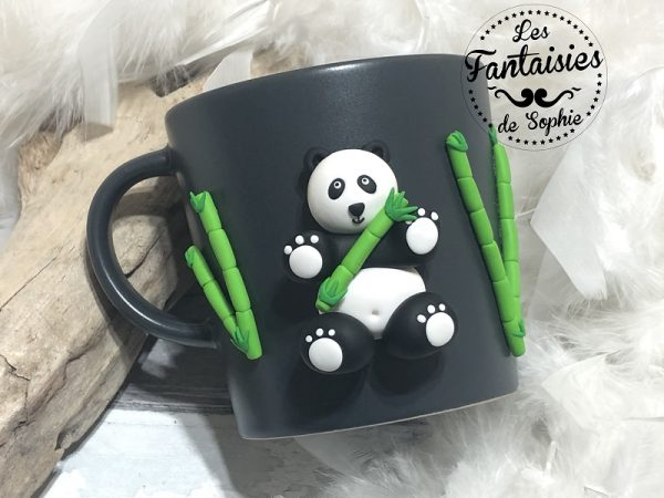 tasse panda gris foncé