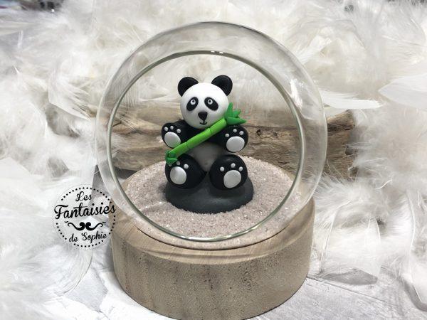boule en verre panda face