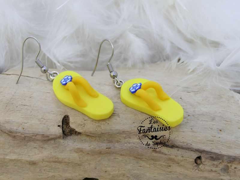 boucle d'oreille tong jaune
