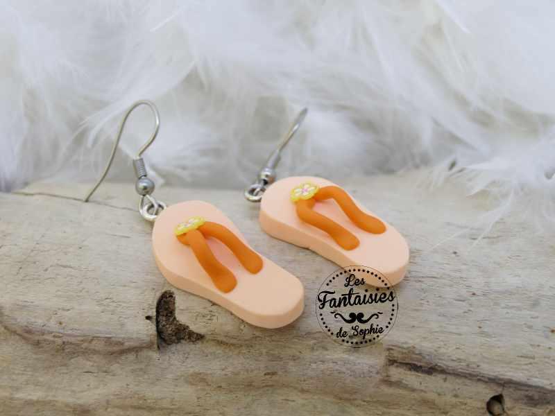 boucle d'oreille tong orange