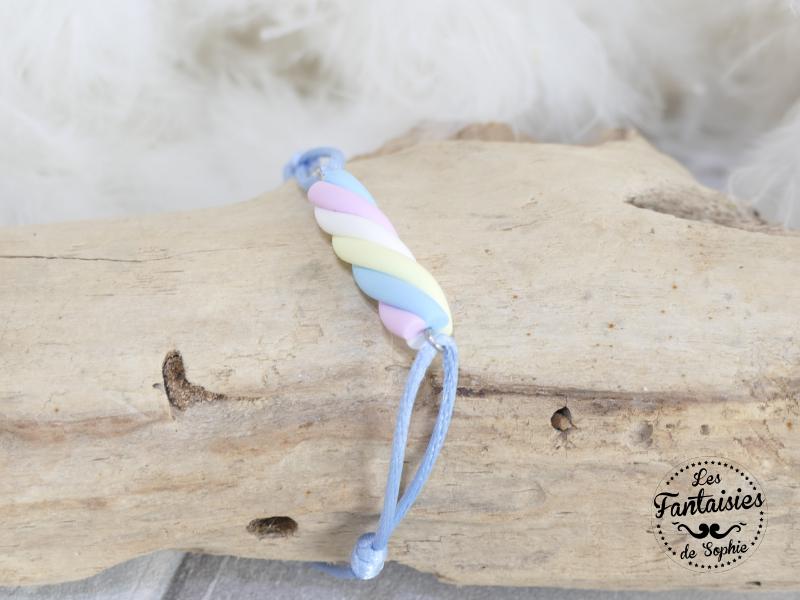 bracelet bonbon guimauve bleu